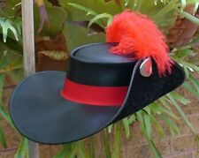 BLACK LEATHER D'ARTAGNAN THREE MUSKETEER MOVIE MENS COSTUME HAT W. RED FEATHER