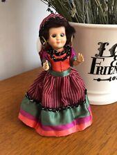 Vintage 1950s 1960s Small Rosebud Doll Dressed As A Gypsy Amazing Footwear