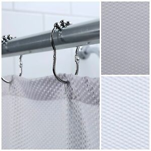 70 in. x 72 in. Textured Hotel Fabric Shower Curtain: White or Gray Curtain