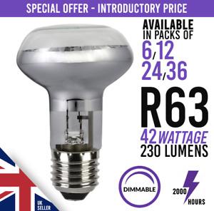 6x R63 Dimmable Halogen Downlighter Reflector Spot Light Bulb E27 ES 42w 60w