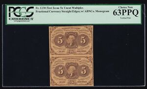 US 5c Fractional Currency Pair 1st Issue w/ABC FR 1230 PCGS 63 PPQ Ch CU (001)