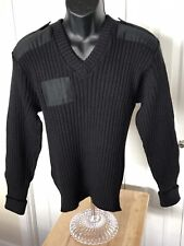 Citadel Size 40 Sweater Large Commando Black Wool Military Great Britain Patches