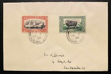 1933 FALKLAND ISLAND CENTENARY ISSUE. 1/2d. and 1d. ON COVER TO ENGLAND. FOX BAY