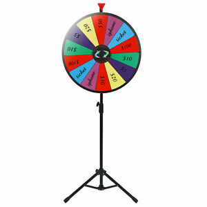 """24"""" Adjustable Height Spinning Game 14 Slots Color Prize Wheel Spinning Wheel"""
