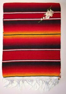Mexican Serape Hot rod Red yellow and black stripe blanket with white Fringe XL