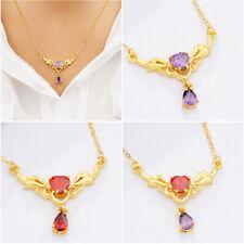 "Women's Heart Zircon Pendant Necklace 18K Gold Filled 18"" Fashion Lover Jewelry"