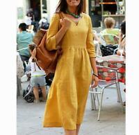 Women Lady Cotton Linen Midi Dress 3/4 Sleeve Casual Boho Kaftan Tunic Plus Size