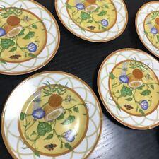Hermes Porcelain Siesta Dessert Plate Tableware 5 set Yellow Ornament New 9.0 in