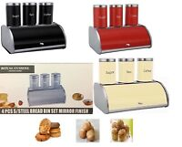 Bread Bin Set Kitchen Accessory Tea Coffee Sugar Pot Jar Canister Box Storage