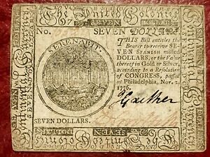 1776 $7 CONTINENTAL CURRENCY NOTE ~ NOV 2 1776 ISSUE ~ CHOICE EXTREMELY FINE