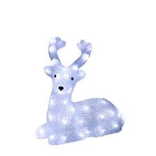 LED Acryl Rentier Elch liegend 33 cm beleuchtet Weihnachtselch Außen 70520