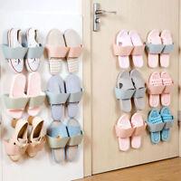 Home Wall Door Mounted 2 Pocket Hanging Shoes Hook Shelf Rack Storage Holder HOT