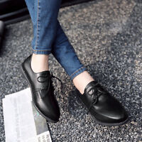 Women's Solid Lace-up Loafer Pointed Toe Comfy Flat Casual PU Leather Shoes