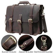 """Large 17"""" Laptop Leather Men's Briefcase Backpack Shoulder Messenger Bag Handbag"""