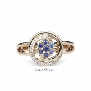 14K Gold Genuine Diamond And Blue Sapphire September Birthstone Wedding Ring