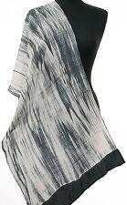 """Shibori Silk Scarf 72"""" x 20"""" Hand-Dyed Tie-Dye Bandhej White Black Grey"""