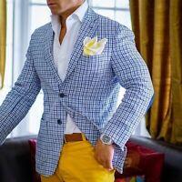 Men Blazer Plaid British Style Slim Fit Tuxedo Notch Lapel Godfather Wedding