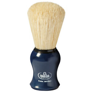 Blue Shaving Brush Long Schweineborste Omega Italy Pure Bristle Natural Bristle