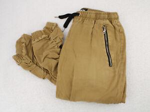 CARBON Khaki Tan Joggers Pants Elastic Drawstring Men's Adult Large 31x29