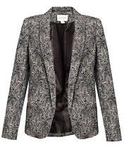 Monsoon Astrid Jacquard Pewter Royal Lily Patterned Jacket Size UK 8 EU 36 BNWT