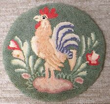 Vintage Hooked Kitchen Chair Cover Crowing Rooster Orig Label Cape Guild Japan