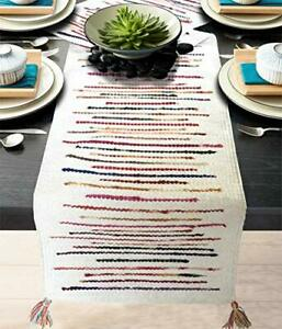 """White Striped Hand Woven Dining Coffee Table Runner 13"""" x 72"""" Home Decor Gift"""