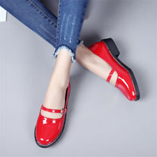 Women Round Toe Buckle Belt Pumps Chunky Low Heel Casual Mary Janes Shoes Size