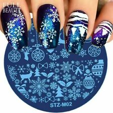 Stampino per unghie Art Template Snow Flower Round DIY Manicure Printer...