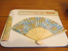 "Vintage Japanese Hand Fan Painted Silk Floral Design,Carved Wood 8.2"" X 13"" New"