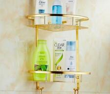 Aluminum Space Gold Double Tier Shower Basket Shelf Tidy Caddy Wall Storage