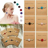 Chic Natural Stone Crystal Chain Make a Wish Card Bracelets Cuff Bangle Women
