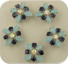 2 Hole Beads X Flowers BLUE Dark Sapphire Swarovski Crystal Elements Sliders 5pc
