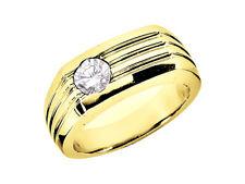 0.25Ct Round Cut Mens Wedding Band Ring 18K Yellow Gold G SI1 Bezel Setting