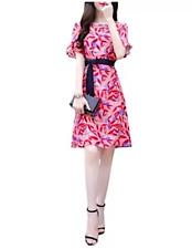 Pink floral dress with belt