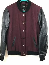Women's Forever 21 Letterman Jacket - Wool Blend - Maroon/Black - Size Large