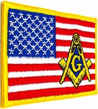 MASONIC REGALIA US AMERICAN FLAG EMBROIDERED PATCH FREEMASON SQUARE COMPASS AMF1