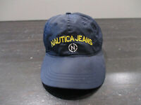 VINTAGE Nautica Hat Cap Blue Yellow Strap Back Adjustable Spell Out Logo 90s