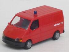 """Ford Transit Kastenwagen in rot Feuerwehr """"Notruf 112"""", o. OVP, Rietze, 1:87"""
