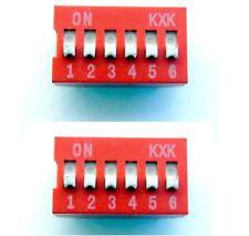 Lot de 2 interrupteurs commutateur 6 positions DIP / 2x red switch 6 positions