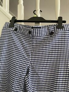 CROPPED TROUSERS PEDAL PUSHERS NAVY WHITE GINGHAM CHECK SIZE 14 - (12)