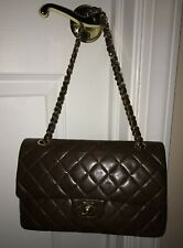 CHANEL DOUBLE FLAP BROWN QUILTED LEATHER PURSE GOLD CHAIN HARDWARE CONVERT STRAP