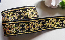 Jacquard Ribbon, 1 inch wide Gold - Black color  selling by the yard