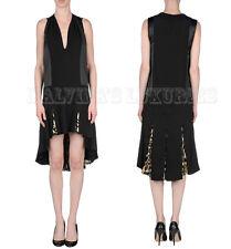 JUST CAVALLI BY ROBERTO CAVALLI DRESS V-NECK ASYMMETRIC PLEATED SKIRT IT 44 US 8