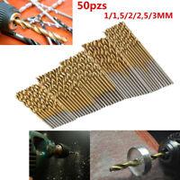 50PCS/Set Titanium Coated HSS High Speed Steel Drill Bit Tool 1/1.5/2/2.5/3mm