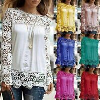 Plus Size Women Chiffon Long Sleeve Top Lace Crochet Ladies Tops Blouse T Shirt