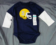 Okie Dokie, 3-6 Month Bold Navy Football Helmet Onesie, New with Tags