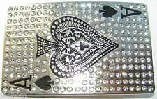 Ace of Spades Playing Card Belt Buckle Shiny Chrome Sparkling Diamantes Bling