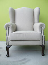 WING ARM CHAIR - NEW- FRENCH ALMOND