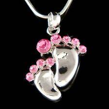 w Swarovski Crystal Pink Mother Baby Feet ~Footprint Motherhood Pendant Necklace