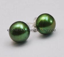 Big 11-12mm Green Akoya Bread Pearl Silver Stud Earrings,Fashion Jewelry AAA+